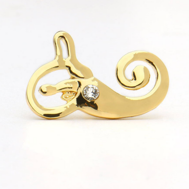 Anatomical Inner Ear with Crystal Brooch Pin Otolaryngology Medical Brooch