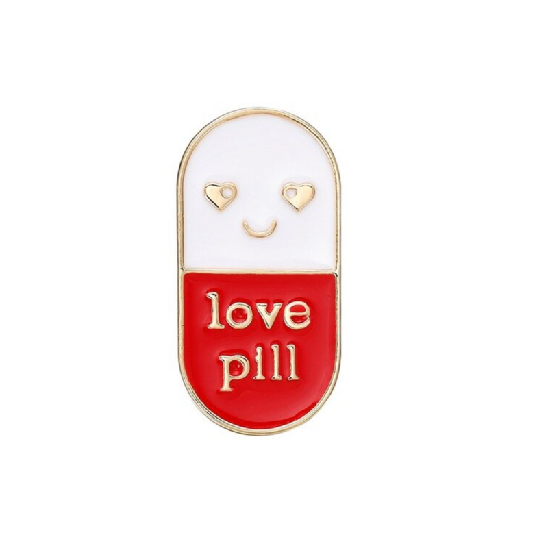 Delicate Charms Chill Pill enamel pin as a great gift for a med student, nurse, pharmacist doctor