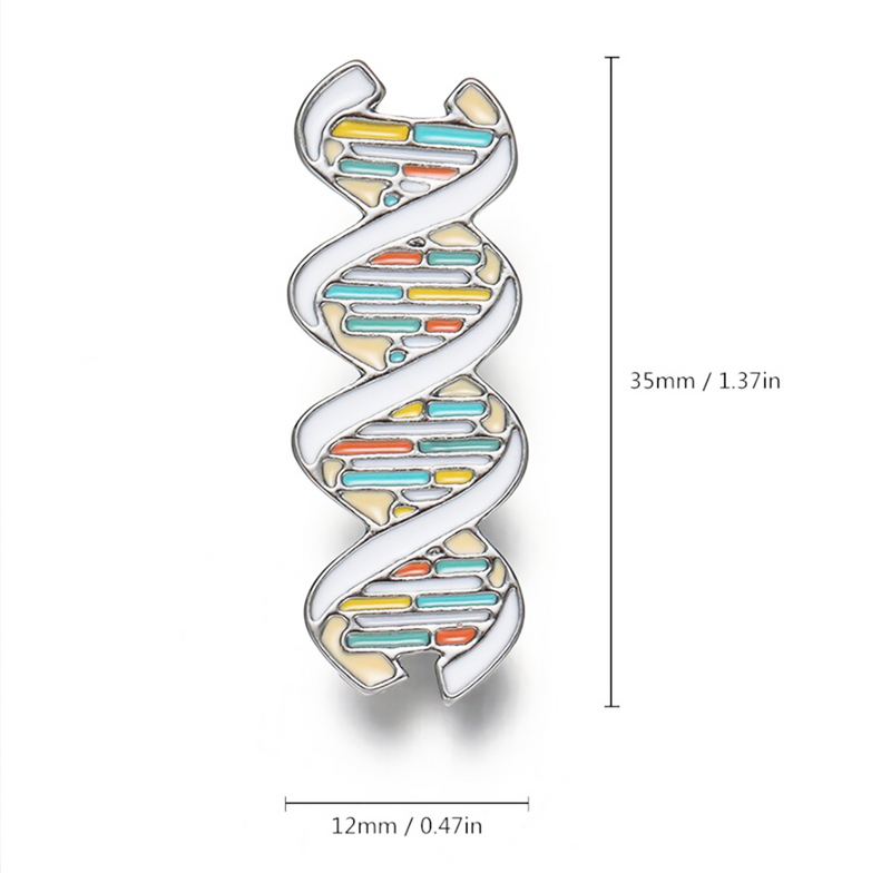 3D DNA Double Helix by Delicate Charms Science Themed Jewelry, Multicolored biology science DNA Helix