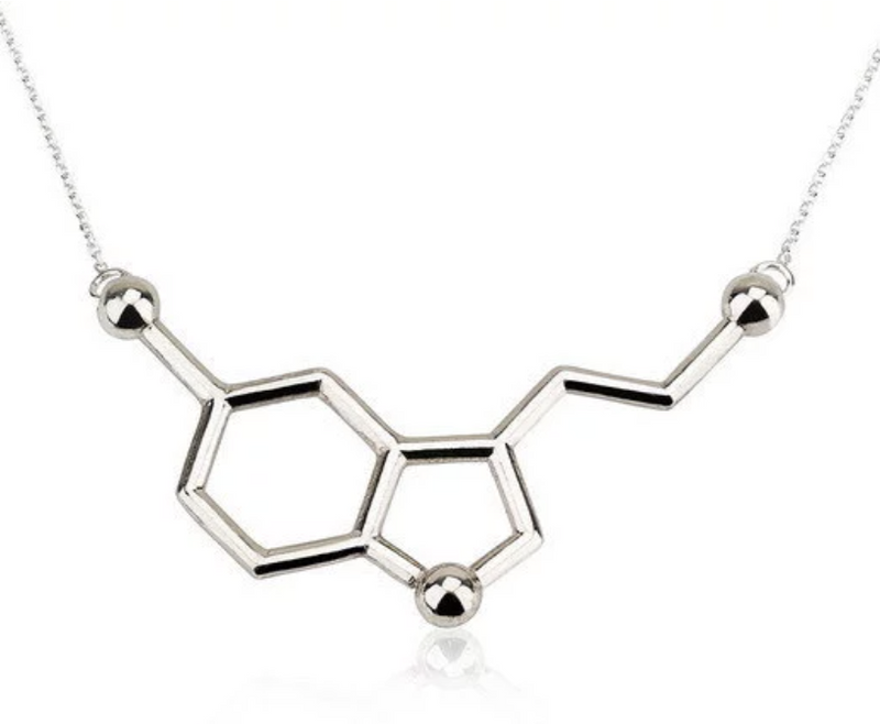 Delicate Charms Serotonin necklace science gift organic chemistry