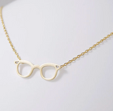 Geek Glasses Necklace - Nerd Glasses Charm  Delicate Charms Jewelry