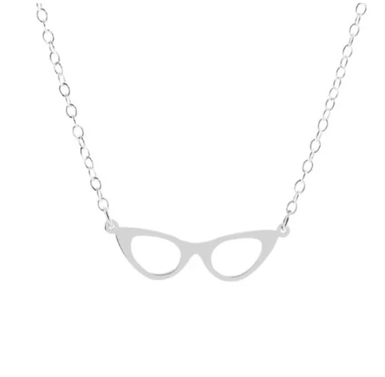 Retro Eyeglasses Necklace, Optician Optometrist Librarian Book Club Reader Gift Delicate Charms
