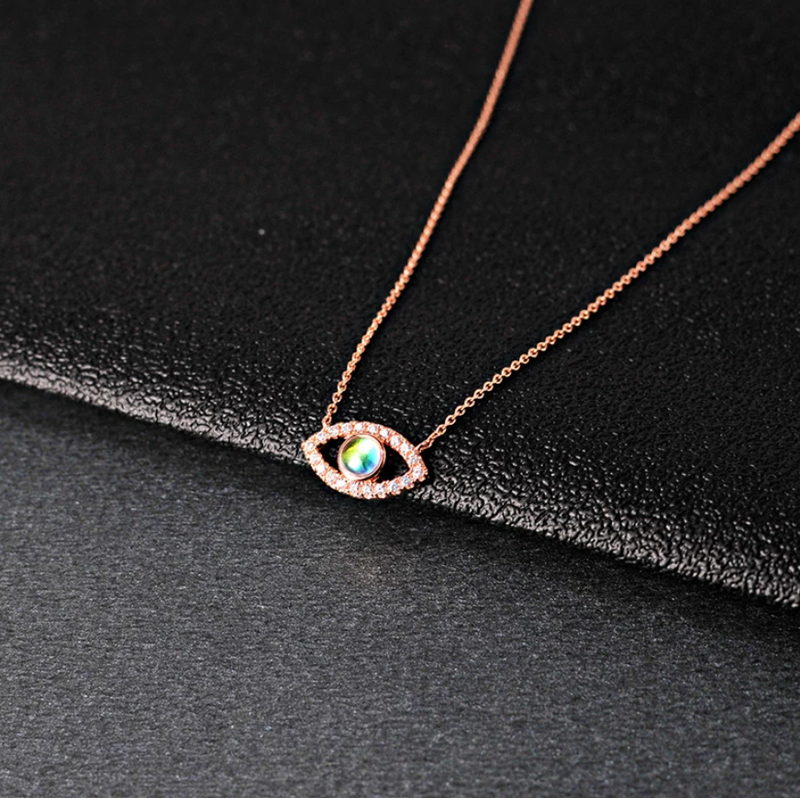 Delicate Charms Gold Evil Eye Necklace - 925K Sterling Silver, Gold Filled and Rose Gold Filled Evil eye Necklace -Evil eye Rose Gold