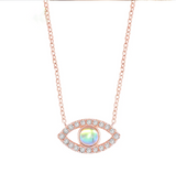 Delicate Charms Opal Necklace Evil Eye Necklace / Opal Evil Eye Necklace