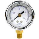 "1/8"" NPT Air Compressor Lower Mount Pressure Gauge 0-30 PSI Side Mnt WOG 2"" Face"