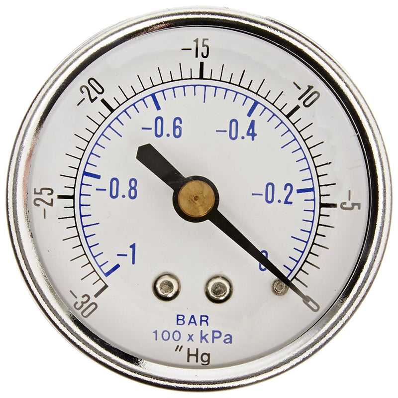 "1/4"" NPT 0 to -30 PSI Vacuum Air Pressure Gauge Center Back Mount With 2"" Face"