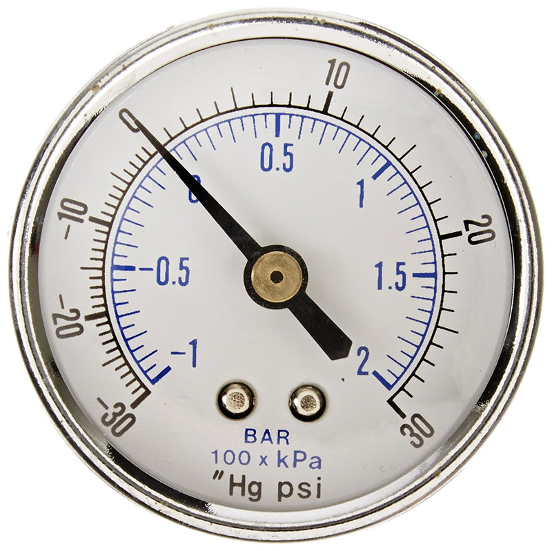 "1/4"" NPT -30 0 30 PSI Vacuum Air Pressure Gauge Center Back Mount With 2"" Face"