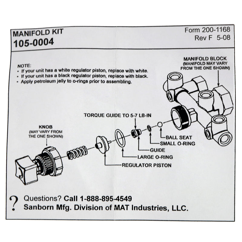 Sanborn Coleman Powermate Air Compressor 105-0004 Regulator Manifold Repair Kit