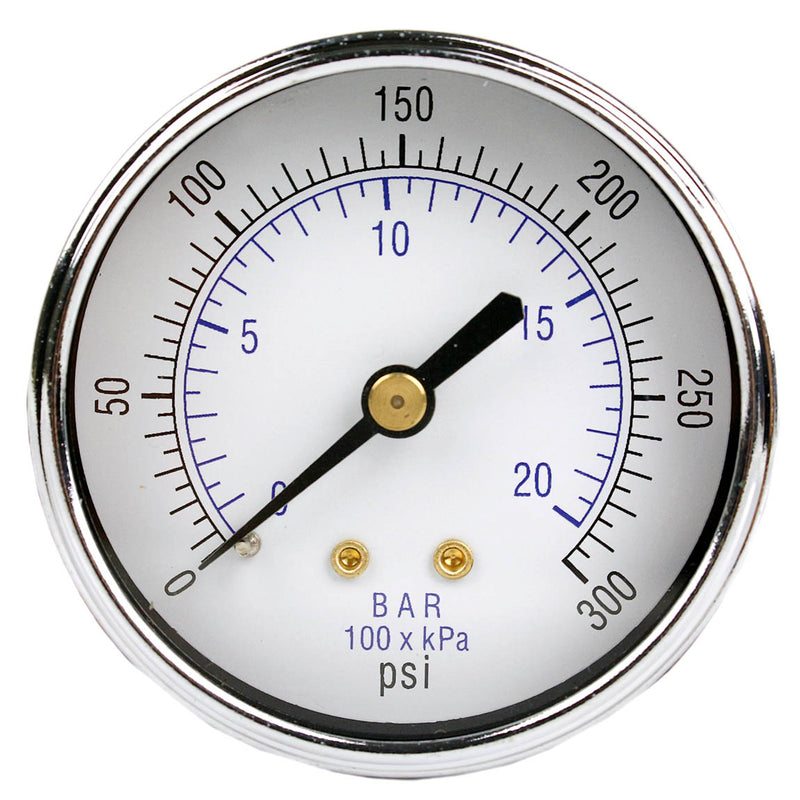 "1/4"" NPT 0-300 PSI Air Pressure Gauge Center Back Mount With 2.5"" Face"