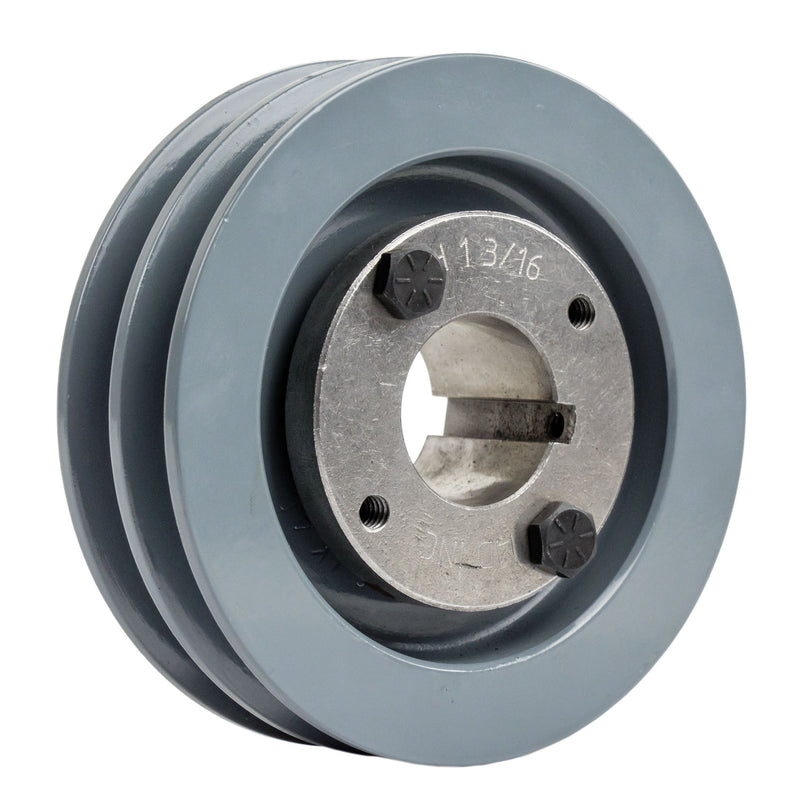 "4.5"" 2 Piece Cast iron Dual Groove Pulley A Belt (4L) Style With 1-3/16"" Bore H Bushing 2AK46H"