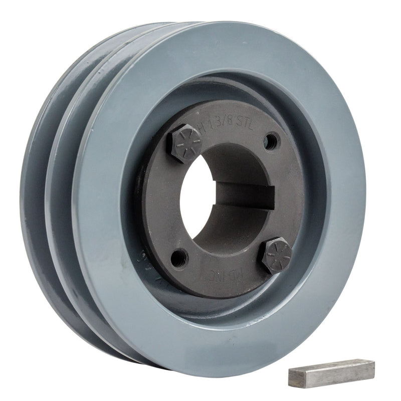 "4.5"" 2 Piece Cast iron Dual Groove Pulley A Belt (4L) Style With 1-3/8"" Bore H Bushing 2AK46H"