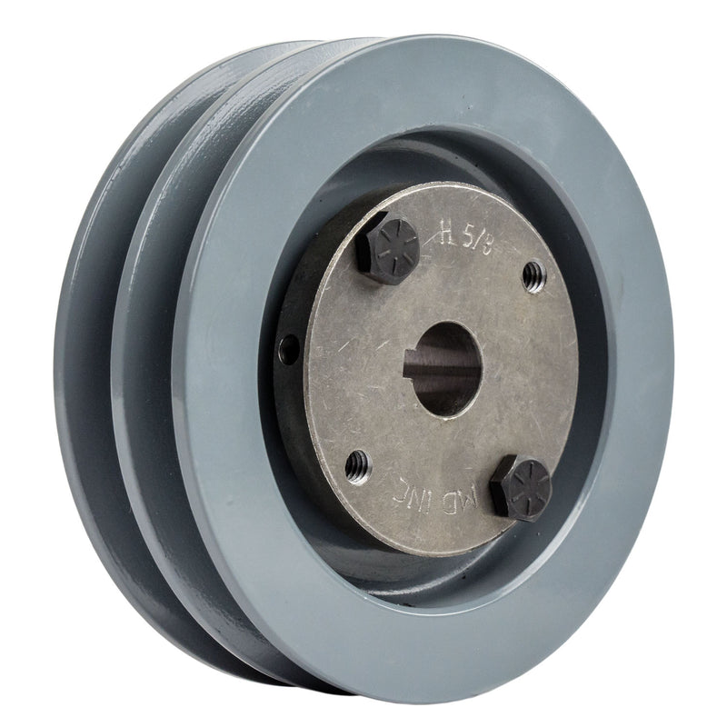 "4"" 2 Piece Cast iron Dual Groove Pulley A Belt (4L) Style With 5/8"" Bore H Bushing 2AK41H"
