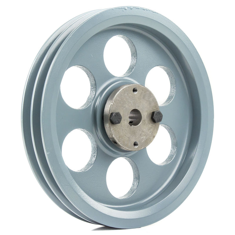 "8.25"" 2 Piece Cast iron Dual Groove Pulley A Belt (4L) Style with 5/8"" Bore H Bushing 2AK84H"