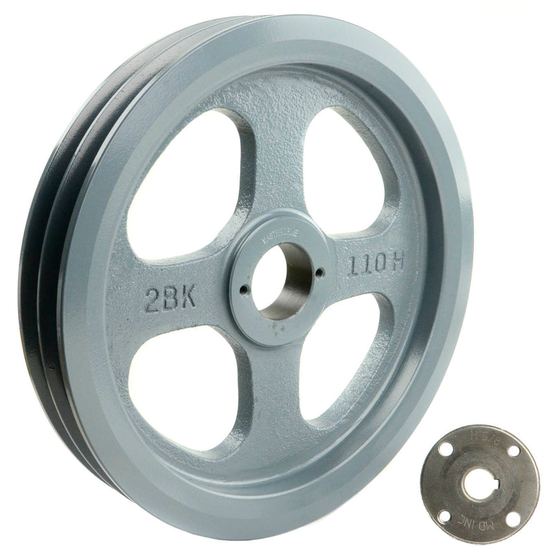 "10.75"" Cast Iron Dual Groove Pulley B Belt (5L) Style with 5/8"" Bore H Bushing"