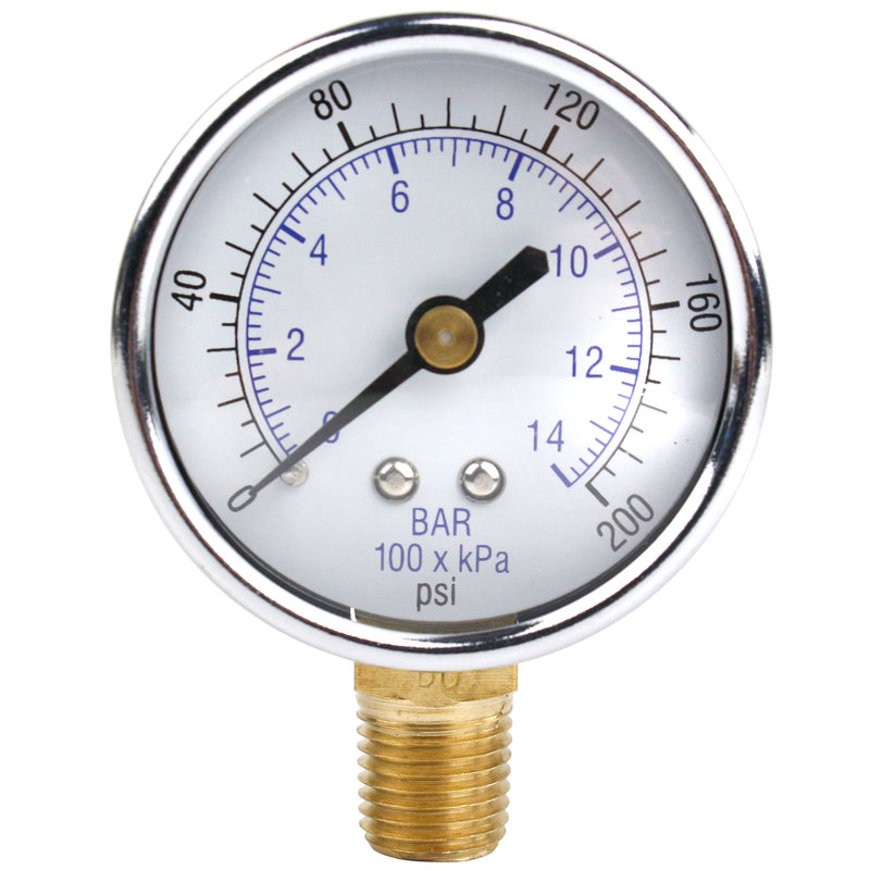 "1/8"" NPT 0-200 PSI Air Pressure Gauge Lower Side Mount With 2"" Face"