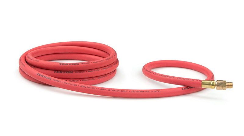 "Tekton 3/8"" x 10' Rubber Lead-In Swivel Air Hose Whip 250 PSI Made in the USA 46348"