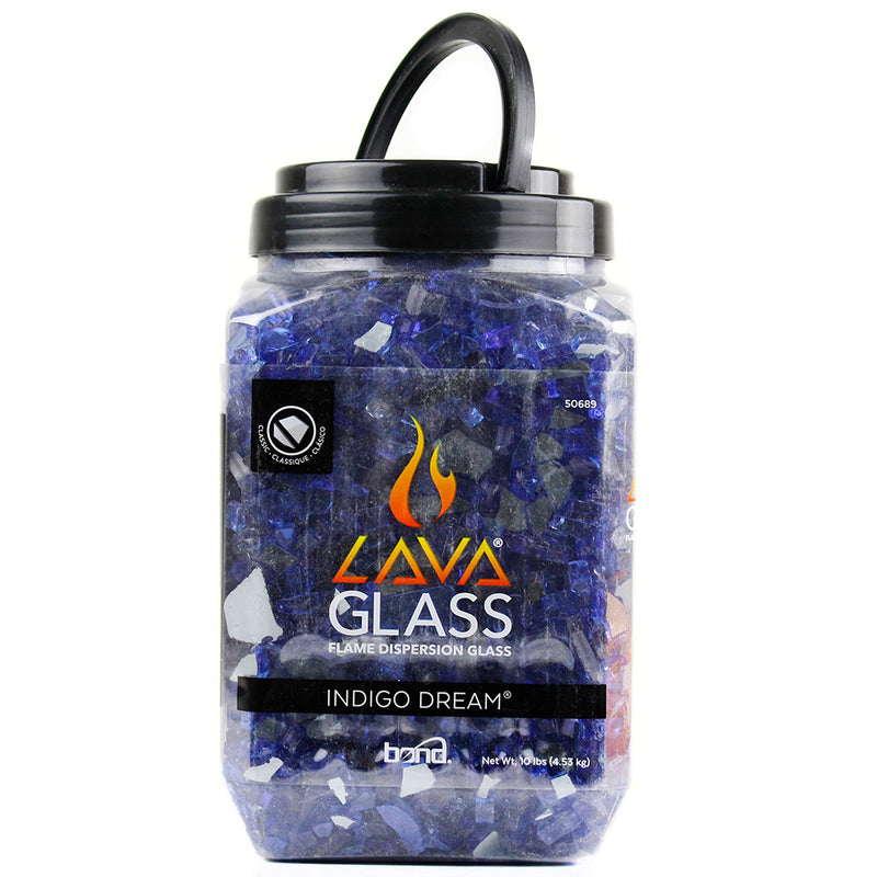 Indigo Dream Classic Cut LavaGlass Fireplace Firepit Dispersion Glass 10 lbs