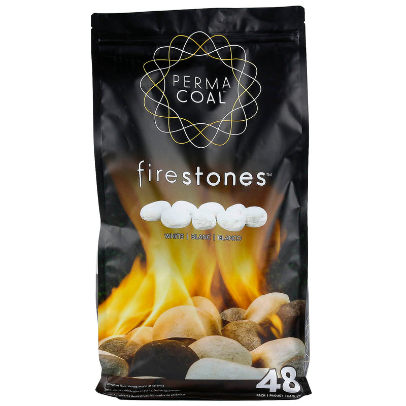 Permacoal White Fire Stones Outdoor Fireplace Eco Friendly Ceramic Stones 50852