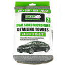 "2 Pack Dual Sided Microfiber Detailing Towels 24-3/4"" x 15-3/8"" Grip Tools 54784"