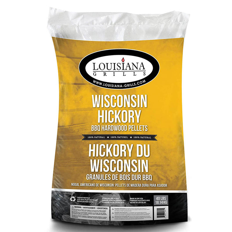 Louisiana Grills 40 lb Bag Wisconsin Hickory BBQ HardWood Cooking Pellets 55406