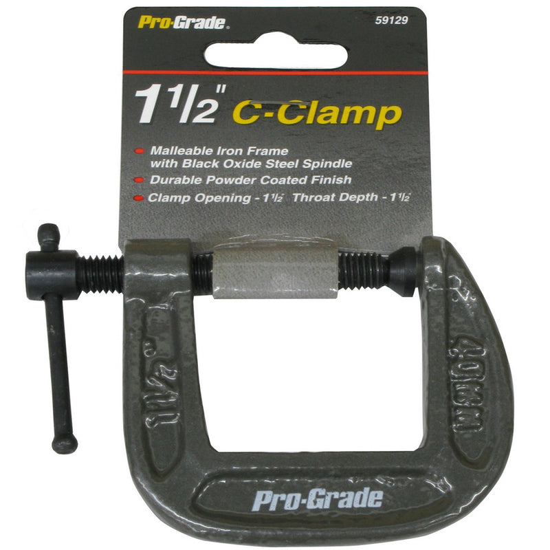 "C Clamp 1-1/2"" Opening 1-1/2"" Depth Deep Throat Vise Style Locking Grip Coated"