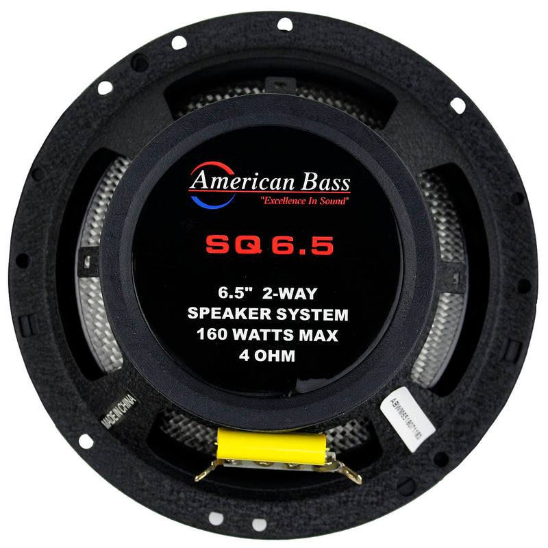 "6.5"" 2-Way Coaxial Car Audio Speakers 160W Max with Grilles Pair American Bass"