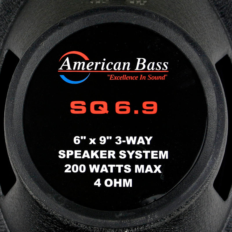 "6x9"" Inch 3-Way Coaxial Speakers 200W Max Grills Pair American Bass Car Audio"