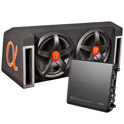 "Alphasonik 12"" Dual Subwoofer Enclosure Party Pack 1500W Subs Amp Combo APP122"