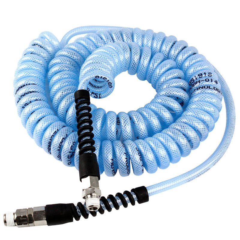 "25' FT x 1/4"" Blue Coil Air Hose High Grade Flexible Coiled Armorthane 240 PSI"