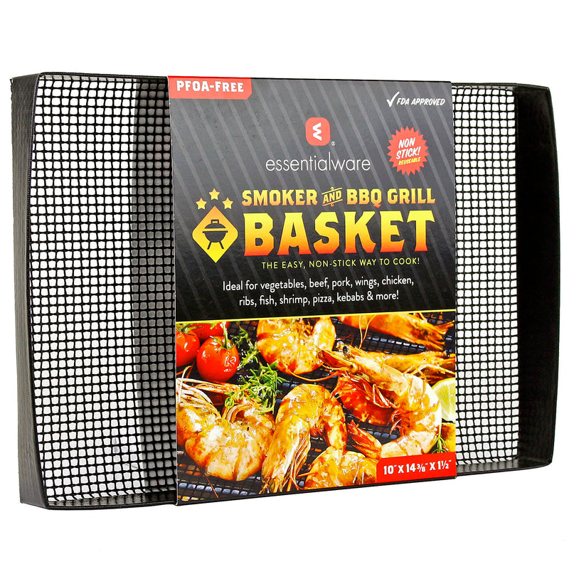 "Heavy Duty Smoker & BBQ Grill Basket 10"" x 14.3"" x 1.5"" Non-Stick PTFE Wide Mesh"