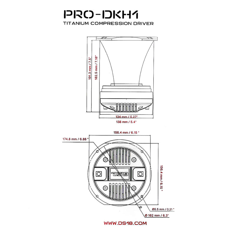 "DS18 2"" Compression Driver With Aluminum Horn 8 Ohm 450W Max Single PRO-DKH1"