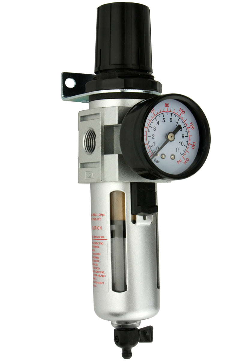 "3/8"" Compressed Air In Line Moisture / Water Filter Trap & Regulator Combination"