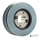 "B Section Dual Groove 2 Pc 5"" Pulley w/ 1-3/8"" Sheave Shiv Cast Iron 5L V Belt"