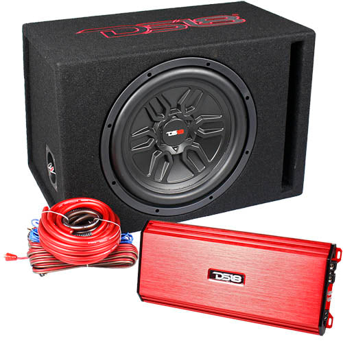 "DS18 Bass Package 12"" Ported Subwoofer Box S-1500.1 Amplifier & 4ga Kit LSE-112A"
