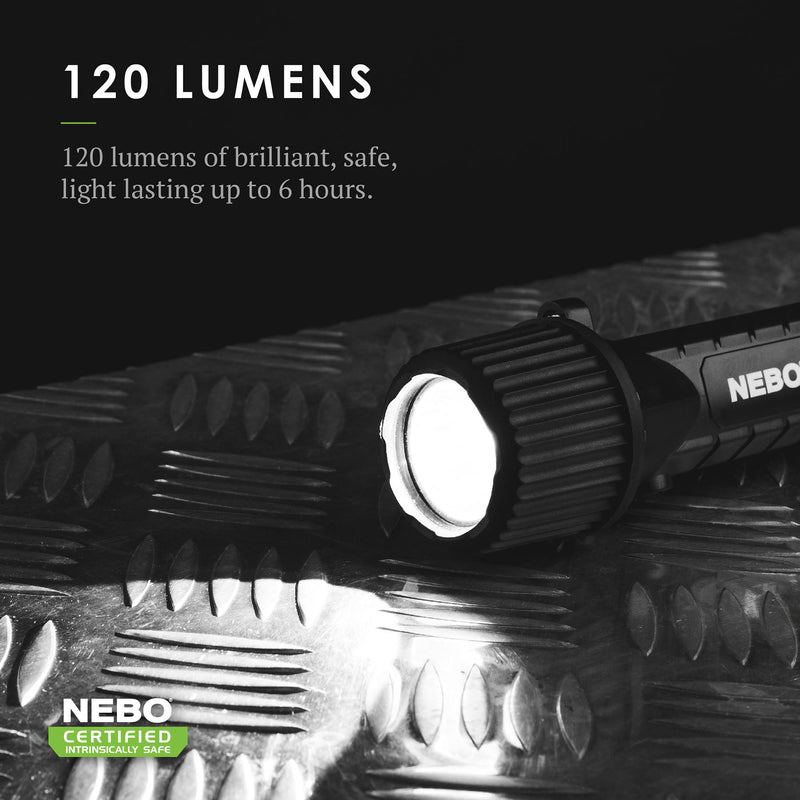 NEBO Intrinsically Safe All Purpose LED Flashlight Safety Rated 120 lumens 6755