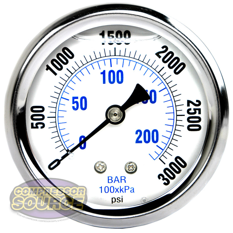 "Liquid Filled 0-3,000 PSI Center Back Mount Air Pressure Gauge With 2.5"" Face"