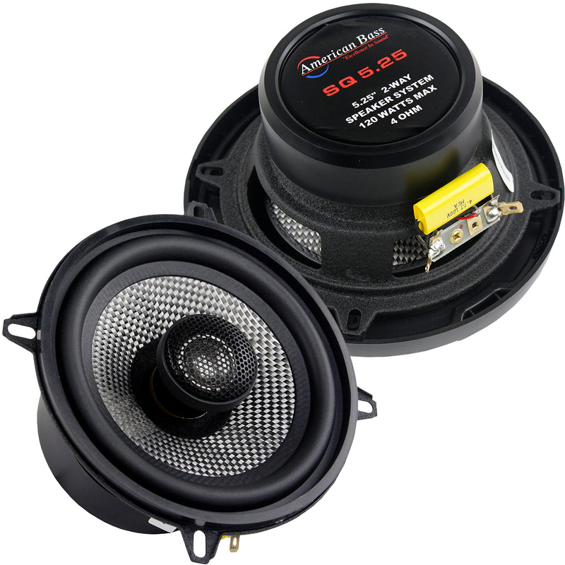 "Pair 2 American Bass 5.25"" 2-Way Coaxial Car Stereo Speakers SQ5.25 120W 4 Ohm"