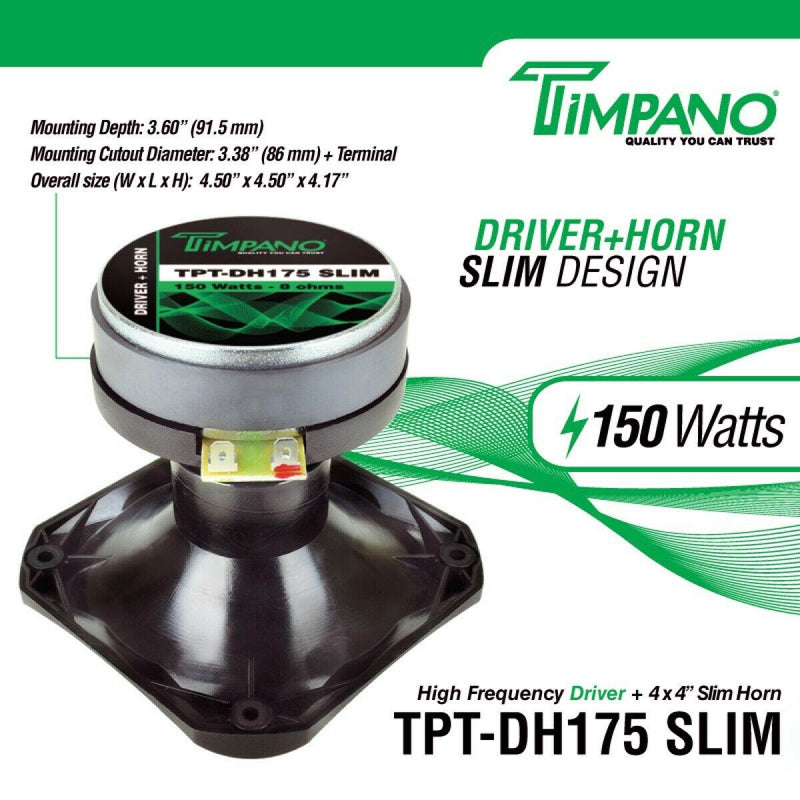 "TIMPANO 1"" Exit Phenolic Diaphragm Driver Horn Combo 150 Watts Power TPT-DH175 SLIM"