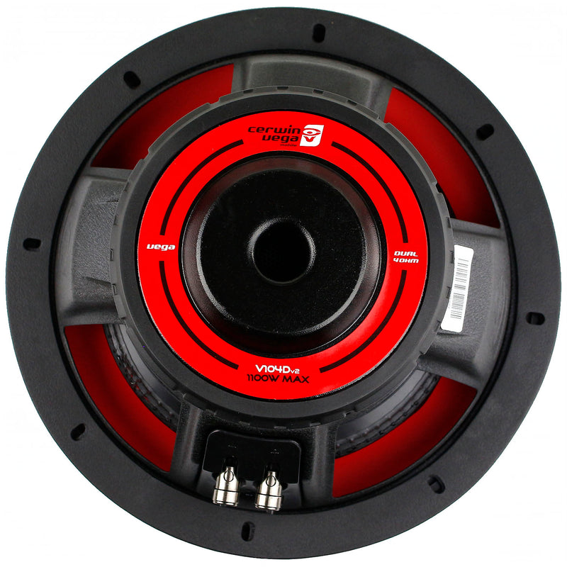 "10"" Dual 4 Ohm Subwoofer 1100 Watts Car Audio Sub DVC Cerwin Vega V104DV2 Single"