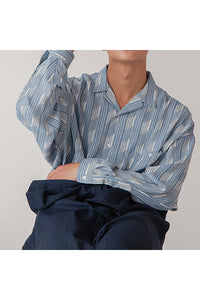 INTERPLAY インタープレイ Open Collar Big Shirts -SAX Multi Stripe- (UNISEX)