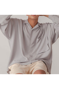 INTERPLAY インタープレイ Open Collar Big Shirts -GREGE- (UNISEX)