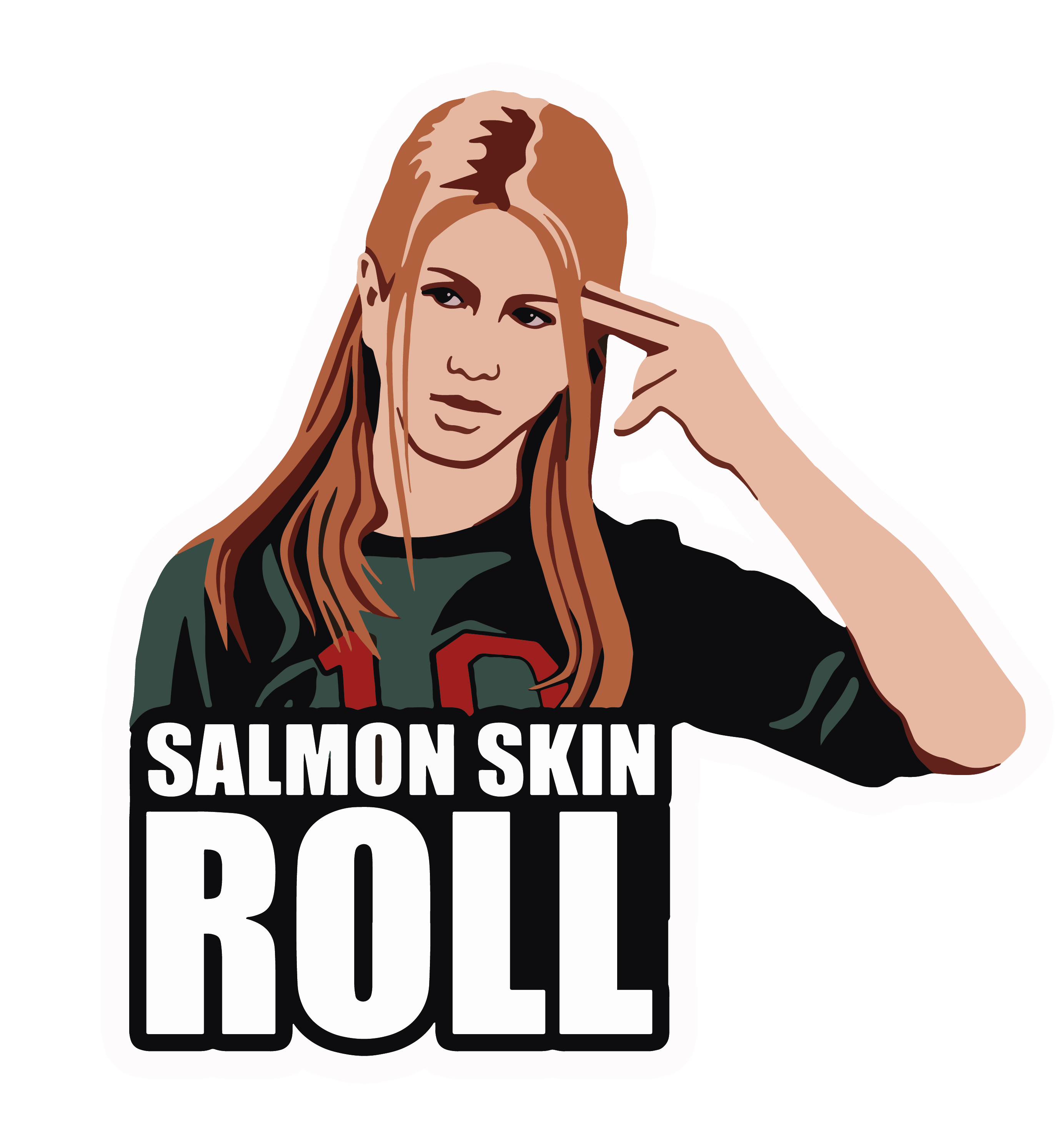 "Salmon Skin Roll Sticker  | Die-Cut Window, Water bottle, Skateboard, Car, Wall Decal, Laptop Vinyl Sticker - 3"", 5"" or 7"""