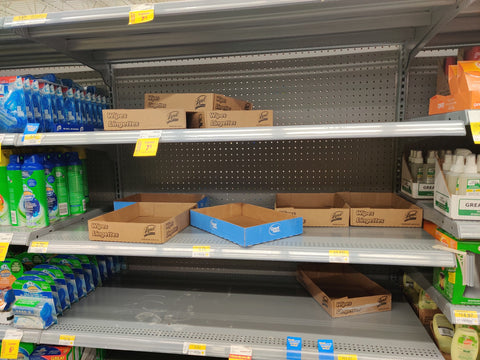 store shelves emptied due to coronavirus