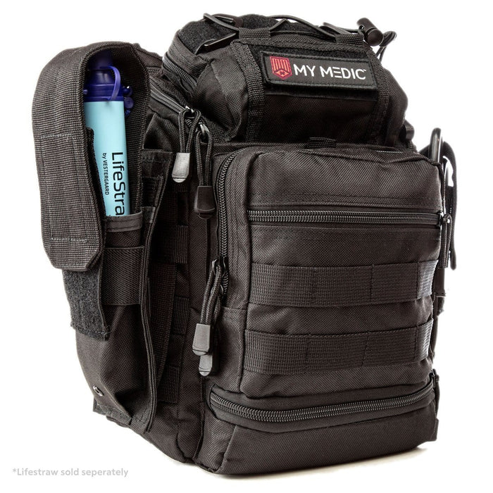 The Recon: Basic trauma kit and tactical sling bag (BLACK)