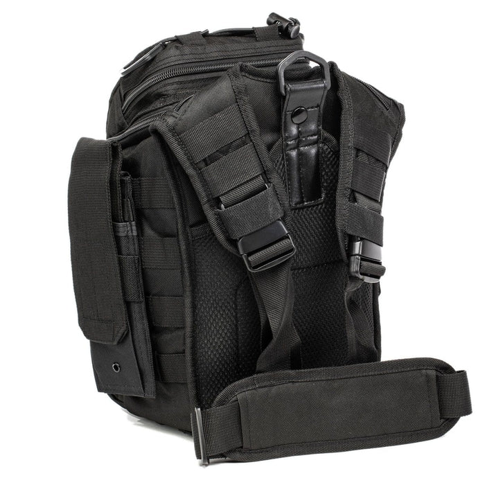 Back of The Recon: Basic trauma kit showing the tactical sling bag's concealed carry pouch