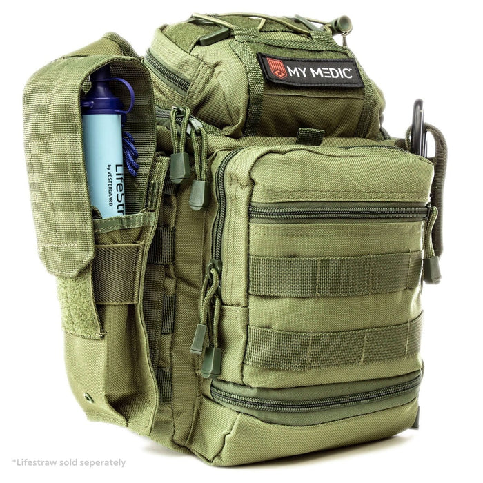 The Recon: Basic trauma kit and tactical sling bag (GREEN)