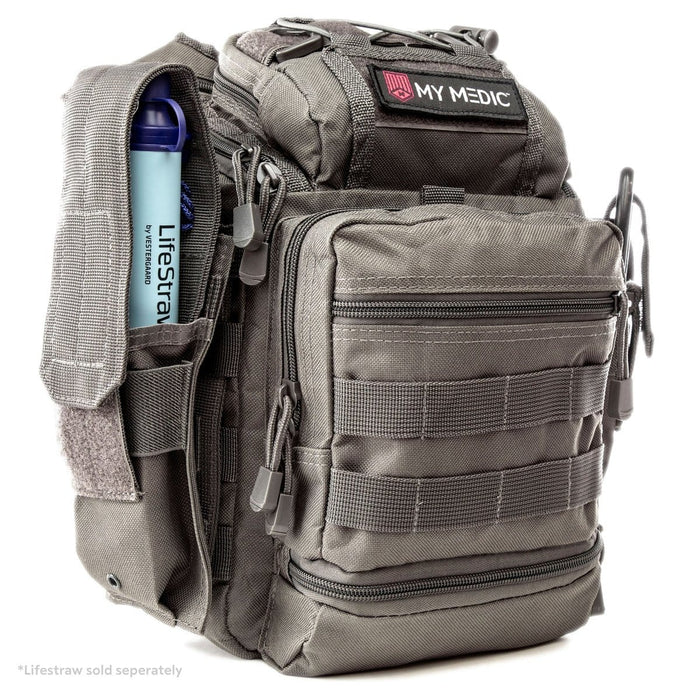 The Recon: Basic trauma kit and tactical sling bag (GREY)