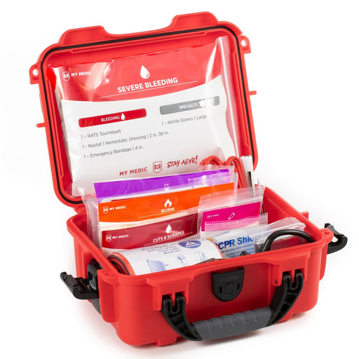 Boat Medic [Waterproof First Aid Kit] by MyMedic open showing contents inside