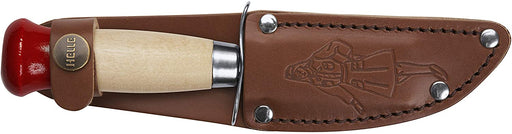 Girl Scout Knife - Handmade Kids Bushcraft Knife by Helle with custom leather sheath featuring Girl Scout