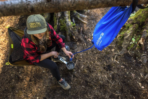 LifeStraw Flex filter + 1 Gallon Gravity Bag Survival Water Filtration System at the campsite